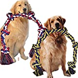 6 Knot 2 Pack 3.6 Feet Large Dog Chew Rope Heavy Duty Aggressive Chewer Durable Tough Toys Interactive Tug of War Play Outdoor Chewing Tugging Rope Large Breed Pull Rope Long Pulling Toy Pitbull