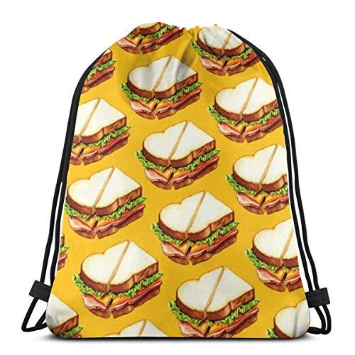 Clothing decoration Ham Sandwich Pattern 3D Print Drawstring Backpack Rucksack Shoulder Bags Gym Bag for Adult 16.9