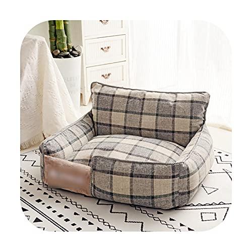 Pet bed Hundebett, warm, abnehmbar, weich, waschbar, für Hunde, Sofa, Matte, Schlafbetten und Häuser, mittelgroße und große Hunde, graue Rückenlehne, 35 x 45 cm