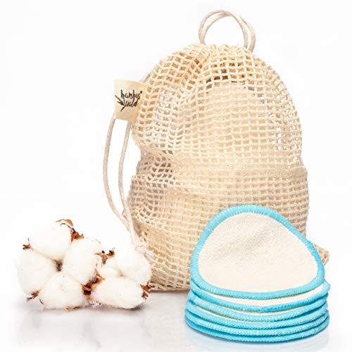 Paquet de 12 tampons nettoyants ou démaquillants écologiques en bambou | tampons cosmétiques avec sac de transport pour le nettoyage du visage, démaquillant. Lingettes nettoyantes