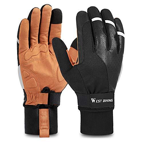 West Biking Cycling Gloves Running Gloves, Winter Thermal Touch Screen Windproof Work Glove for Men Women, Anti-Slip Bike Gloves for Biking, Snowboarding, Driving