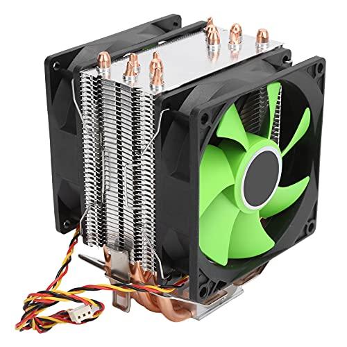 Enfriador de CPU para Intel LGA, Enfriador de CPU de 9 cm, radiador de 3 Pines, 6 Tubos de Calor y 2 Ventiladores, excelente Rendimiento de refrigeración, para Intel LGA775 / 1155/1156/1366 AMD AM2 /