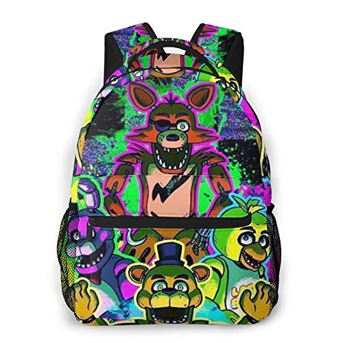 Five Nights Backpack, Girls Boys Five Nights at Freddy's Cartoon Animal Printed Daypack FNAF Crazy Games Comic School Bags Rucksacks for Children Men Women(16 * 11.5 * 8 in)