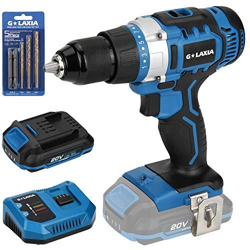 G LAXIA Taladro Atornillador, 2 Velocidades, 21 +1 Posiciones,50 Nm, Portabrocas 13mm, 20V Baterías 2.0Ah, Cargador rapido, luz LED