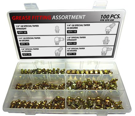 Thread Forming/Spin Drive Grease Fitting Kit - 100 Piece Assortment