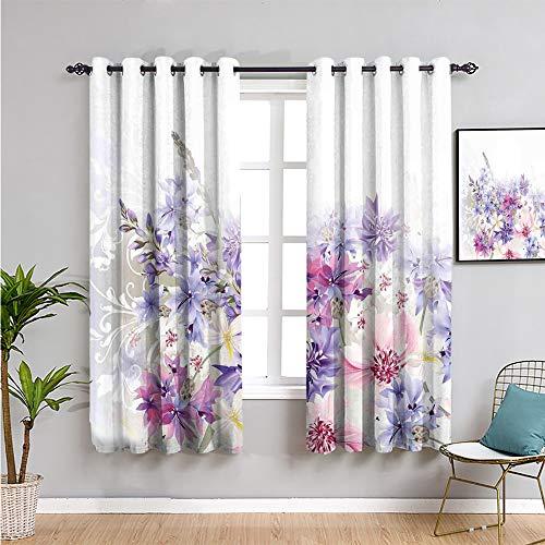 Pcglvie Cortina de lavanda linda cortina, 160 cm de largo, diseño clásico de acianos pastel nupcial, diseño floral suave, decoración de boda, fácil de instalar, violeta, rosa, blanco, 163 x 163 cm