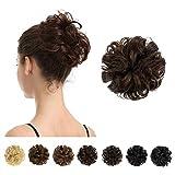 100% Human Hair Bun, BARSDAR Messy Bun Scrunchies Ponytail Extensions Curly Hair Bun Hair Piece for Women/Kids Tousled Updo Donut Chignons(4# Brown)