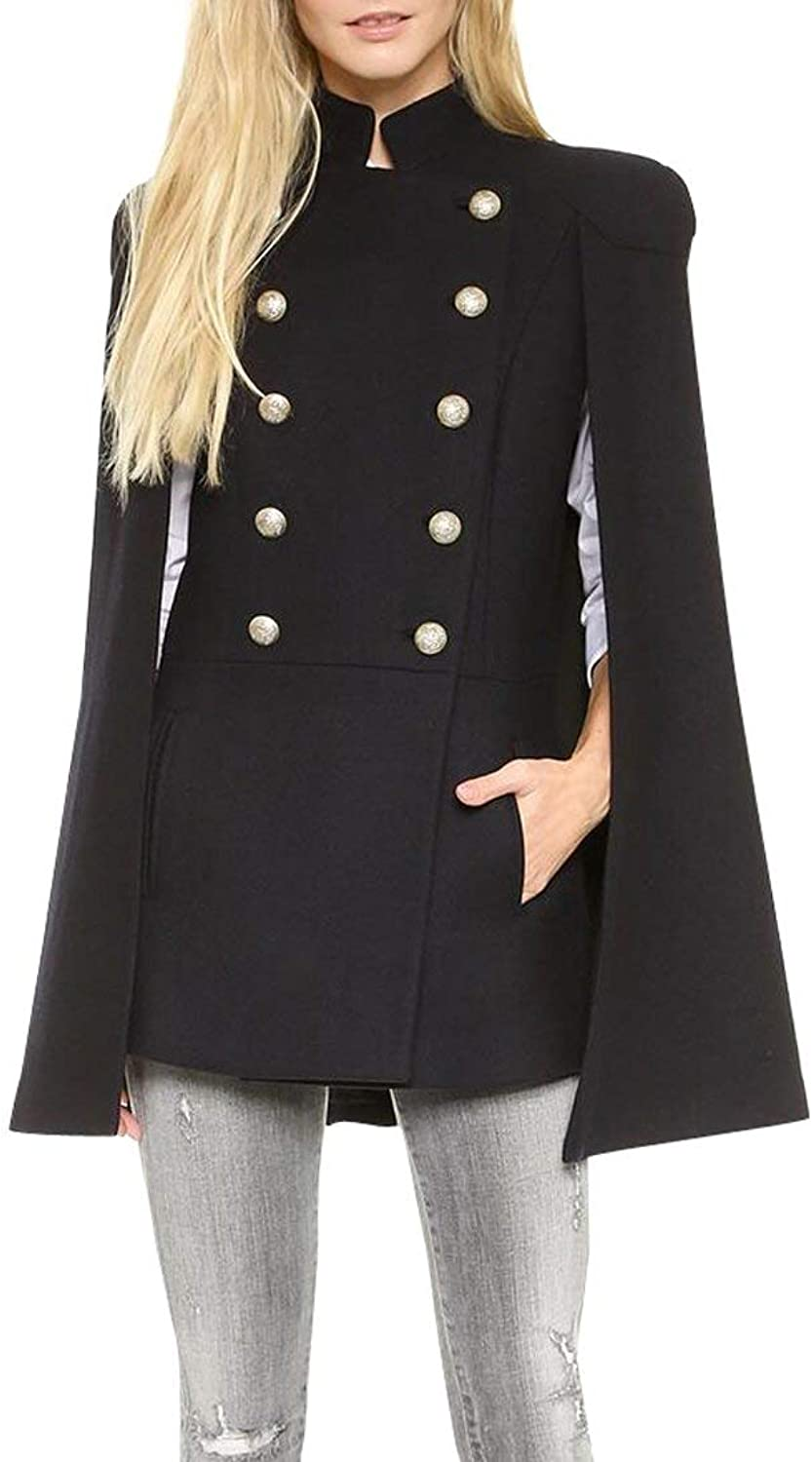 BU2H Women's Outdoor Doublebreasted Wool Blend Cloak Loose Trench Coat