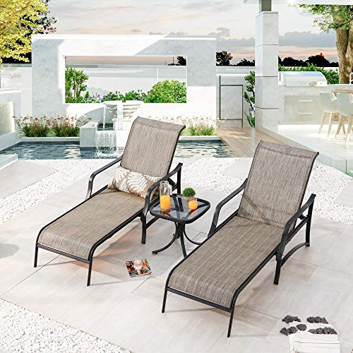 LOKATSE HOME 3 Pieces Outdoor Chaise Lounge Set Patio Pool Chairs Adjustable Back Steel Teslin with Coffee Table, Grey