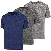 Lifinais スポーツウェア Tシャツ メンズ 半袖 スポーツシャツ 吸汗速乾 通気性 反射素材デザイン 抗菌 防臭 (L, セット(青+濃い灰色+ライトグレー))