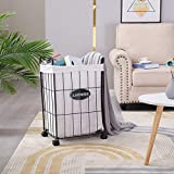 Mxfurhawa Slim Laundry Basket on Wheels, Heavy Duty Cotton Liner Laundry Storage Hamper with Handles, Collapsible Clothes Wire Basket Organizer Laundry Bag Beige (23.6 inches)