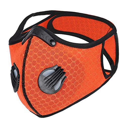 5-layers Face_Mask with Air Filtration Valves, Soft Plastic Nose Clip and Strap for Protection, Included, Washable, Durable for Cycling, Running
