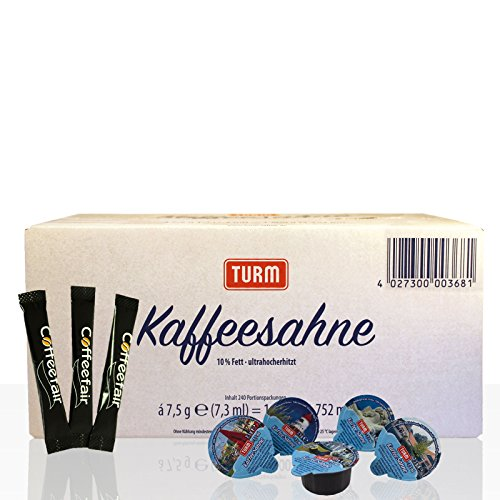 Set | Turm Kaffee-Sahne 2 x 240 Stk & Coffeefair Zucker-Sticks 1000 x 4g