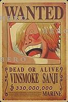 海賊アニメVINSMOKE Sanjiサンジサンジ さびた錫のサインヴィンテージアルミニウムプラークアートポスター装飾面白い鉄の絵の個性安全標識警告バースクールカフェガレージの寝室に適しています