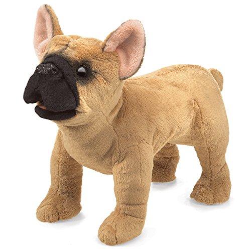 Folkmanis French Bulldog Hand Puppet Plush, Light Brown/Dark Brown, 1 EA