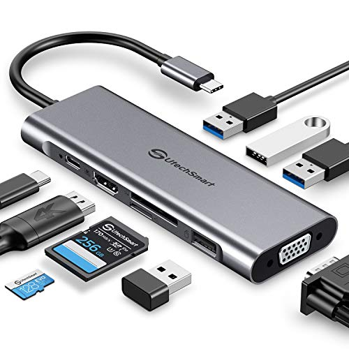 UtechSmart USB C Hub, USB C Dock,9 in1 Triple Display USB C Docking Station Adapter with 4K HDMI, VGA, 100W PD, 4 USB Ports, SD TF Card Reader Multiport HDMI Dock Compatible for Macbook,Type C Devices