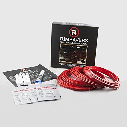 Rimsavers FELGENSCHUTZ & Styling Felgenschutzring Alu Felgen Ringe Felgenrandaufkleber Felgenstyling Rim Protector Guard Ringz Rimblades (Rot)
