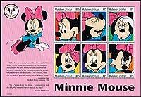 ミニーマウス モルディブ1999年6種連刷シート ディズニー