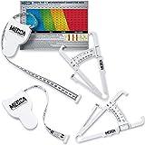 MEDca - Misuratore di nastro per corpo e pinza Skinfold per body set, confezione da 2 – analizzatore di grasso corporeo e strumento di misurazione BMI, colore: Bianco