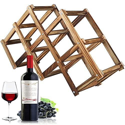 Botellero Madera Plegable Espacio, Soporte para Vinos de 6 Botella,Marron Estante de...