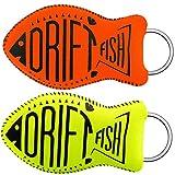 DriftFish Floating Neoprene Boat Keychain Key Float | Jumbo Size | Float 5 to 6 Keys | Waterproof Key Chain, Green and Orange