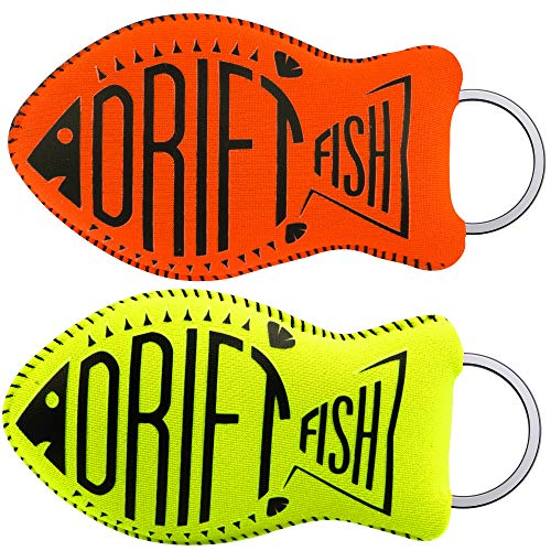 DriftFish Floating Neoprene Boat Keychain Key Float | Jumbo Size | Float 5 to 6 Keys | Waterproof Key Chain, Green and Orange