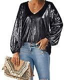 Style Dome Blusa Donna Elegante Chiffon Camicetta Donna Manica Lunga Sexy Scollo V Casual Tops Bluse per Primavera Estate Autunno E11226-Nero XL
