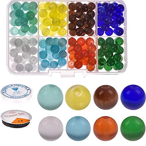 MMYAN Kit de cuentas de cristal esmerilado de cuentas redondas de gemas de cristal Cuentas redondas de piedras preciosas coloridas para hacer barras de decoración