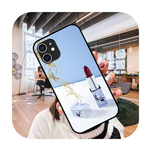 Funda del teléfono para el iPhone 12 Mini 11 Pro XS MAX XR X 8 7 6S 6 Plus negro cubierta cubierta moda impermeable elegante lápiz labial chica-G5-iPhone X