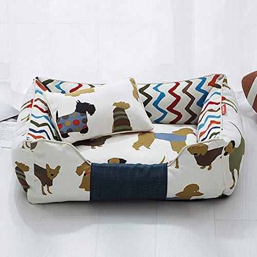 Afneembare hondenmand Kinderbed Zachte print Hondenhokkussen Ademend Lounger Sofa Kennels voor kleine middelgrote honden Dierbenodigdheden