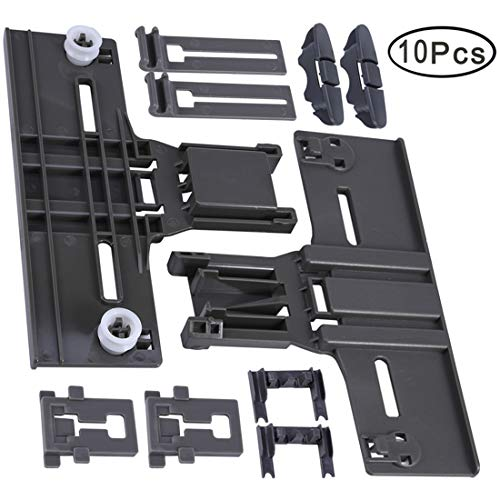 Upgrated Dishwasher Top Rack Parts Adjuster Kit 10 Pack (W10350376 & W10195840 & W10195839 & W10250160 & W10508950) for Whirlpool Kenmore Dishwashers, Replaces AP5272176, W10253546