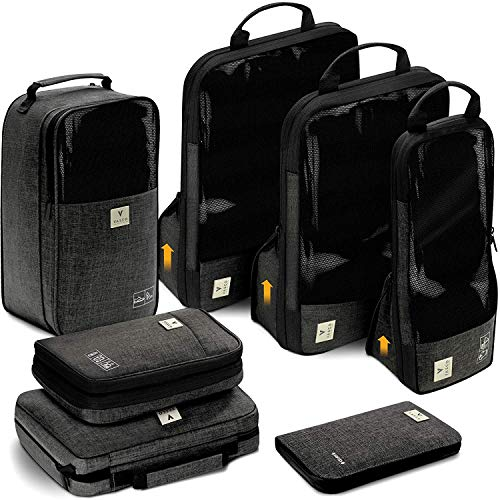 Premium Set of 3 Luggage Organizer Bags 3 Set Black with Dirty Compartment VASCO Compression Packing Cubes for Travel