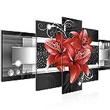 Runa Art - Quadri Fiori Gigli 200 x 100 cm 5 Pezzi XXL Decorazione Murale Design Rosso 008651c