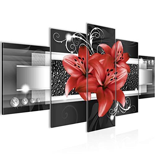 Bilder Blumen Lilien Wandbild 200 x 100 cm Vlies - Leinwand Bild XXL Format Wandbilder Wohnzimmer Wohnung Deko Kunstdrucke Rot 5 Teilig - MADE IN GERMANY - Fertig zum Aufhängen 008651c