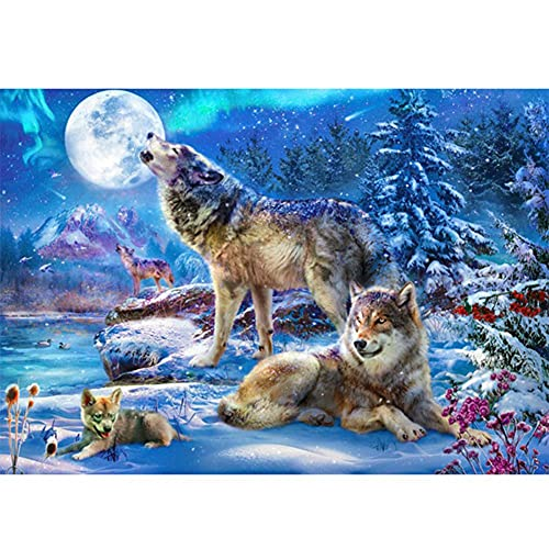 5D Diy Diamante Pintura Lobo Kit De Punto De Cruz Taladro Completo Bordado Redondo Mosaico Animales Arte Imagen Decoración Del Hogar Regalo 40x50cm