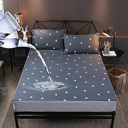 HPPSLT Matratzen-Bett-Schoner mit Spannumrandung | Auch für Boxspring-Betten und Wasser-Betten geeigne Wasserdichtes Bettlaken mit Baumwolldruck - 8_180 cm × 200 cm