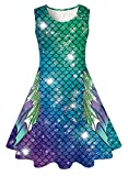Funnycokid Mermaid Tail Dresses for Girls Sleeveless Party Dress 10-13 Year Old Blue Purple