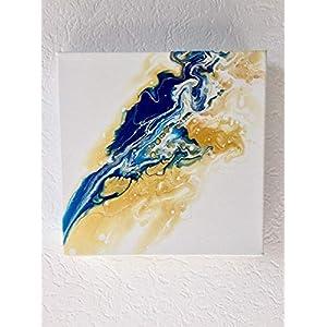 Acryl Pouring I 20 x 20 x 3,5 cm I original handgemaltes Unikat I weiß, blau, gold I Leinwand auf Keilrahmen I Moderne…