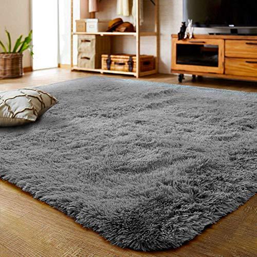 Leesentec Teppiche Schlafzimmer Modern Designer für Wohnzimmer Hochflor Shaggy Langflor Anti-Rutsch Flauschig und Super Weich Teppich für Home Decor (Grau, 160 x 200 cm)