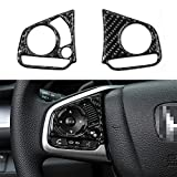 Thenice for 10th Gen Civic Real Carbon Fiber Steering Wheel Trims Inner Wheel Button Decoration Cover for Honda Civic 2020 2019 2018 2017 2016