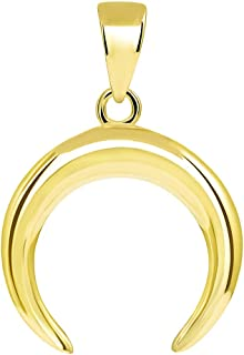 14k Yellow Gold Double Horn Crescent Moon Pendant with High Polish