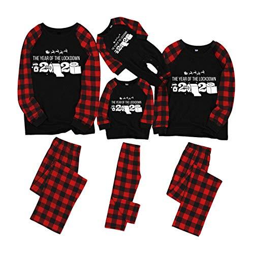 Zilosconcy Pijamas Navideños Familiares Dos Piezas Ropa de Dormir Mameluco Ropa de Casa Familia Homewear Conjunto,para papá mamá y yo