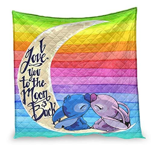YshChemiy Stitchy Moon Kiss - Funda de edredón de algodón para silla y cama, cómoda manta en relieve, para adolescentes, color blanco 180 x 200 cm