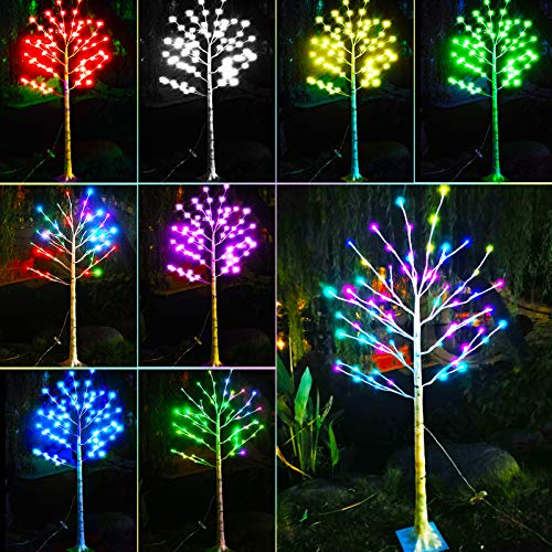 16 Color Changing Lit Birch Tree Lighted, 72LED Multicolor 5 Feet Artificial Twig Bonsai Tree Light LED Fake Tree Lamp Christmas Light for Wedding, Halloween, Holiday, Party, Bedroom Decor-4.9ft(RGB)