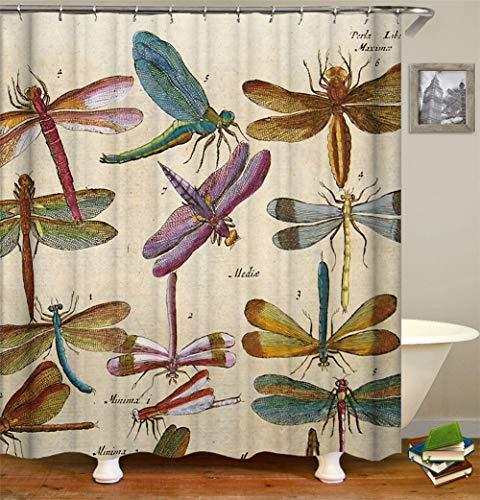 ZZZdz Insektendekoration. Viele Insekten Duschvorhang. Wasserdicht. Einfach Zu Säubern. 180X180Cm.