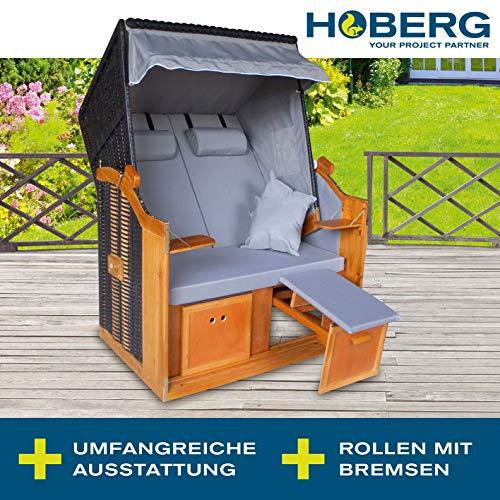 Hoberg 2-Sitzer-Strandkorb (Ostsee), 120x80x160 cm, 5 Liegestufen einstellbar, Rollen mit Feststellbremsen, ausziehbare Fußbänke, 2 Nackenkissen - 4