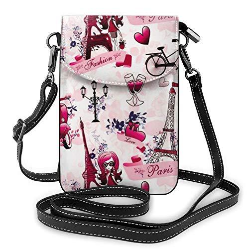 Bolso ligero de piel sintética para teléfono celular, Cityscape Paris Torre Eiffel Francia Pequeña bolsa de hombro cartera Pounch bolso para mujer, color Negro, talla Talla única