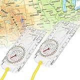 N/AN/A CHIFOOM 2 Pezzi Bussola di Navigazione,Orienteering Map Compass Avventura Professionale Equipaggiamento da Esterno Impermeabile con Cordino per Navigazione Campeggio Escursione Sopravvivenza
