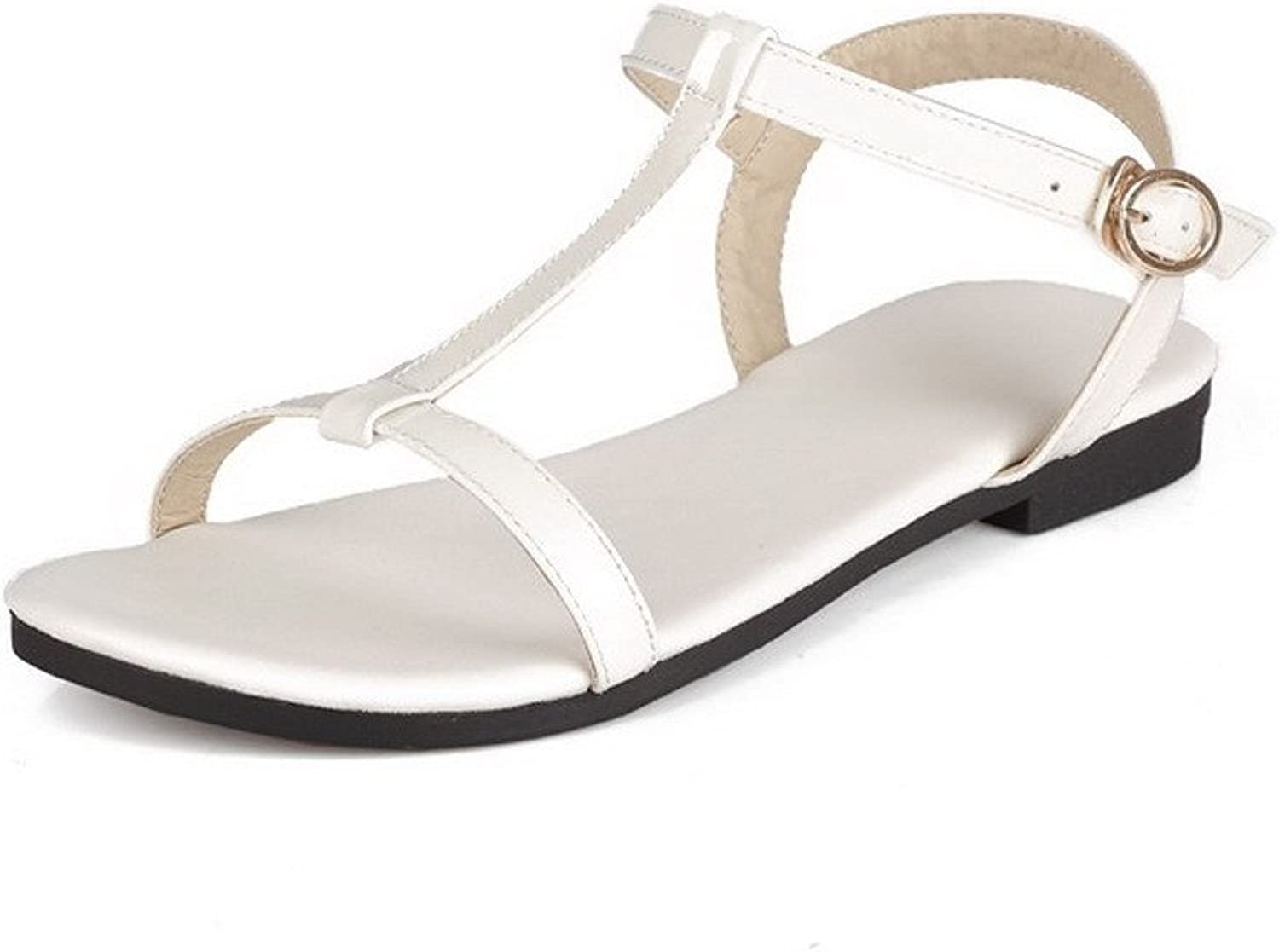 AllhqFashion Women's Cow Leather Solid Buckle Open Toe No-Heel Flats-Sandals