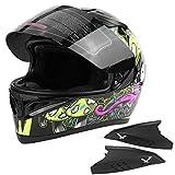 KIMISS Elegante casco da moto, M/L/XL/XXL Casco da moto integrale universale Visiera parasole antinebbia per migliorare la sicurezza Casco da casco integrale (M)